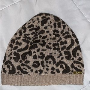 calvin klein cheetah sparkly beanie winter hat